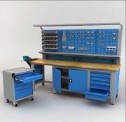 Établi d'atelier modulaire avec desserte - Établi complet professionnel