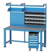 Établi d'atelier professionnel - Avec panneau d'accrochage et bacs de rangement