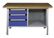 Établi monobloc à trois tiroirs - Équipé de deux tiroirs et un seul caisson