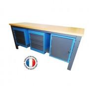 Établi plateau bois - Équipé d'un meuble bas 4 tiroirs , d'un meuble bas 3 tiroirs et d'un meuble bas avec tablette
