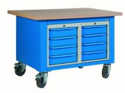 Etabli roulant d'atelier à 2 blocs et 8 tiroirs - Dimensions (L x P) mm : 1200 x 750