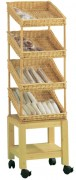 Étagère 4 présentoirs pour boulangerie - Dimensions : 50 x 50 x 180 - Hêtre massif, osier