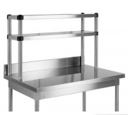 Etagère inox à fixer sur table - Dimensions (L x l x H) mm : De 1000 à 2000 x 300 x 400 ou 600