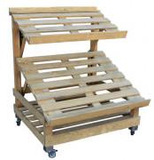 Étal marché bois 2 niveaux orientables - Dimension : Ht 1600 x 750 x long 1200
