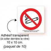 Etiquette adhésive interdiction de fumer - L 10 x l 10 cm
