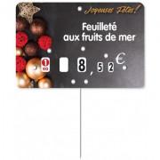 Etiquette de fête pour boucherie - Dimensions :  10.5 x  7 cm