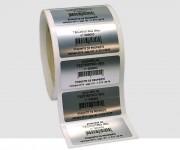 Etiquette de propriété insaisissable - Film polyester alu mat - Adhésif 3M renforcé acrylique solvant - Pelliculage en polyester brillant 3M