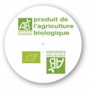 Etiquette discinfo agriculture biologique - Diamètre : 68 mm