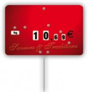 Étiquette pique-prix rouge - Dimensions (cm) : 10,6 x 7 ou 12,6 x 8