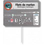 Étiquette poissonnerie «Poséidon» avec mentions obligatoire - Dimensions : 14 x 10 cm -Vendu : à l'unité ou par paquet de 10 -Matière : Impression sur PVC cristal 85/100°