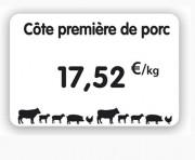 Étiquette pour boucherie blanche - Dimensions : 8 x 6 - 10,5 x 7 -12 x 8cm