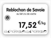 Étiquette pour fromageries crèmeries blanche - Dimensions : 8 x 6 - 10,5 x 7 - 12 x 8cm