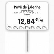 Étiquette pour poissonneries blanche - Dimensions : 10,5 x 7 ou 12 x 8 cm