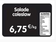 Étiquette pour tous commerces allergènes - Dimensions : 8x6 - 10,5x7 ou 12x8 cm - PVC - Pique inox