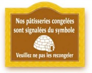 Etiquette signalétique congélation pâtisserie