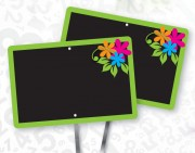 Etiquettes pique prix fleuristes - En aplat ardoisine noir - Dimensions (cm) : 12 x 8