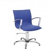 Fauteuil coiffure à accoudoirs courbés et chromés - Dimensions du fauteuil (L x P x H) : 55 x 61 x 87/102 cm