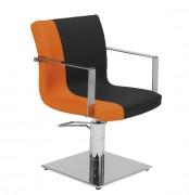 Fauteuil coiffure a accoudoirs inox - Dimensions du fauteuil (L x P x H) : 58 x 60 x 84/99 cm