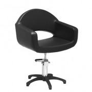 Fauteuil de coiffage noir arrondie - Dimensions du fauteuil (L x P x H) : 67 x 58 x 76/91 cm