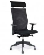 Fauteuil de direction à têtière réglable - Composition :  100 % polyester - structure noire