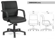Fauteuil de direction en cuir à dossier moyen - Modèle standart - Piétement nylon noir