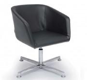 Fauteuil de réception en simili cuir - Composition : 89% PVC - 11% Polyester -  Piétement quatre branches