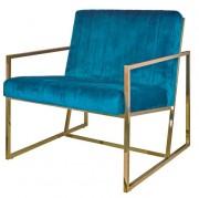 Fauteuil de restaurant à revêtement en velours - Revêtement en velours bleu  -  Dimensions : 84×73,5×88 cm