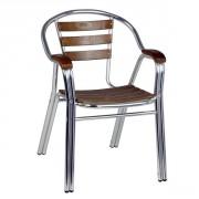 Fauteuil de terrasse aluminium et bois - Hauteur d'assise (cm) : 44