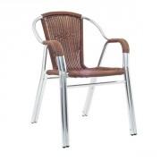 Fauteuil de terrasse aluminium et tressage - Aluminium et  tressage - Couleur : noir ou marron