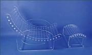 Fauteuil relax plexi - Dimensions : 62 cm l x 80 cm Ht - Avec repose pieds 52 cm l x 35 cm L