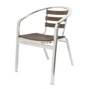 Fauteuil terrasse aluminium avec assise en bois - Assise et dossier bois exotique