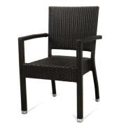 Fauteuil terrasse pvc - Chaise tressé couleur café