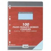 Feuillets mobiles 21x29,7 cm 100 pages grands carreaux bleus 80g – Sous étuis CONQUERANT SEPT - CONQUERANT 7
