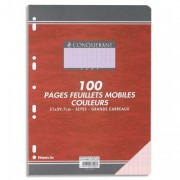 Feuillets mobiles 21x29,7 cm 100 pages grands carreaux roses 80g – Sous étuis CONQUERANT SEPT - CONQUERANT 7