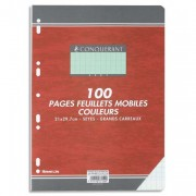 Feuillets mobiles 21x29,7 cm 100 pages grands carreaux verts 80g – Sous étuis CONQUERANT SEPT - CONQUERANT 7