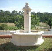 Fontaine de jardin en pierre reconstituée - Diamètre du bassin : 1.58 m