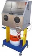 Fontaine lessivielle avec cabine - Pour fût de 20 à 60L - Surface de travail : 725 x 550 mm.