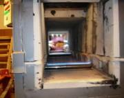 Four tunnel à gaz pour brûlage bois et poutre - Four à 10 brûleurs rampe et torche avec armoire  commande
