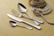 Fourchette de table 'Arcadia' en inox: - Epaisseur: 25/10e - Poids: 0,05 kg - Inox 18/10