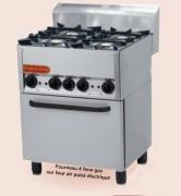 Fourneau professionnel à gaz - Puissance four 3,13 Kw - 4 feux gaz ou 6 feux gaz +  Four électrique