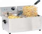Friteuse professionnelle à 2 bacs - Puissance : 2 x 2 000 W- Dim( L x P x H )  : 435 x 400 x315 mm- Capacité : 4 x 2 L