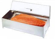 Fumoir à saumon en acier inox - Dimensions (mm) : 700 x 210 x 170