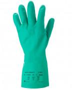 Gant manutention nitrile résistant vert - Normes : EN 388-374  -  Avec manchette Crispin - Adhérisé sablage