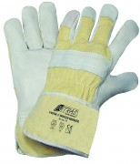 Gant de protection thermique - Matière: Coton  /Cuir de grain de vache, gris  - Taille : 10
