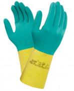 Gant protection chimique caoutchouc naturel - Normes : EN 388-374-421  - Longueur 323 mm - Bi-color