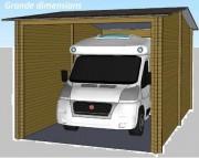 Garage en bois à toiture shingle - Madriers en sapin non traité de 45 ou 58 mm - Simple ou double vitrage