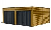 Garage en bois double - Dimensions (mm) : 5500 x 5800 x 2450