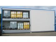 Grand conteneur de stockage multi niveaux avec rétention - Pour extérieur - Conteneur 2 niveaux - 8 mètres linéaires - 2 portes coulissantes (2 vantaux de 4 mètres l)- Rétention : 6000 L