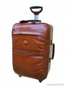 Grande valise de cabine cuir de vachette - 2 poignées de transport - Grande poche zippée à l'avant