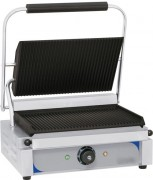 Grill panini plaques rainurée - Thermostat de 50°C à 300°C -  Puissance : 2 200 W